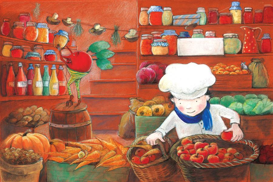 Der kleine Koch in der Vorratskammer von Illustratorin Susanne Leontine Schmidt